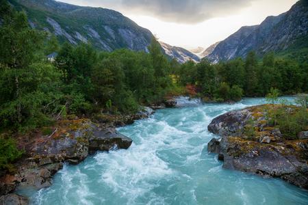 Jostedola river with Nigardsbreen Glacier seen in background, Jostedalsbreen National Park, Sogn og Fjordane, Norway, Scandinavia