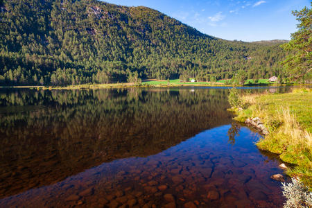 Norwegian landscape with crystal clear mountain lake in Telemark County,  Norway Standard-Bild - 118216750