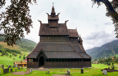 12th century wooden Hopperstad Stave Church (Hopperstad stavkyrkje), one of the oldest remaining stave churches in Norway. Vikoyri, Vik, Sogn og Fjordane county, Norway 写真素材