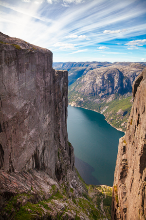 Aerial view of Lysefjord (Lysefjorden) from Kjeragbolten at Kjerag (or Kiragg) Plateau, a popular travel destination in Forsand municipality of Rogaland county, Norway, Scandinavia