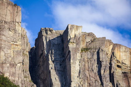 Preikestolen or Prekestolen (Preachers Pulpit, Preachers Chair or Pulpit Rock) steep cliff as seen from Lysefjord (Lysefjorden) fjord, a major tourist attraction in Forsand municipality of Rogaland county, Norway, Scandinavia Standard-Bild - 118217100