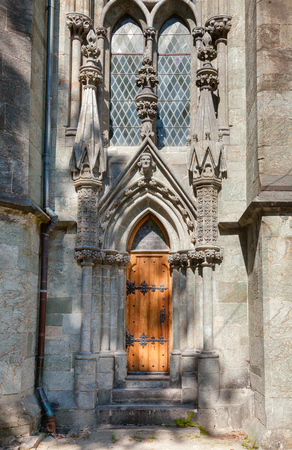 Gothic portal of Stavanger Cathedral (Stavanger domkirke), the oldest norwegian cathedral and major landmark in Stavanger, Rogaland county, Norway, Scandinavia 写真素材