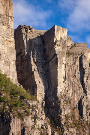 Preikestolen or Prekestolen (Preachers Pulpit, Preachers Chair or Pulpit Rock) steep cliff as seen from Lysefjord (Lysefjorden) fjord, a major tourist attraction in Forsand municipality of Rogaland county, Norway, Scandinavia 写真素材 - 123022831