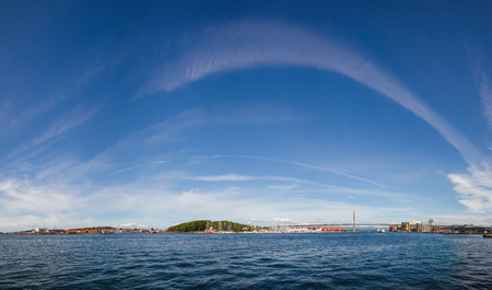 Panoramic view of Ostre Havn harbour of Stavanger at Byfjorden fjord with Grasholmen island, Stavanger City Bridge and the Port of Stavanger, Rogaland county, Norway, Scandinavia