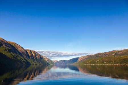 Calm morning at Lysefjord (Lysefjorden) fjord, a popular travel destination in Forsand municipality of Rogaland county, Norway, Scandinavia 写真素材