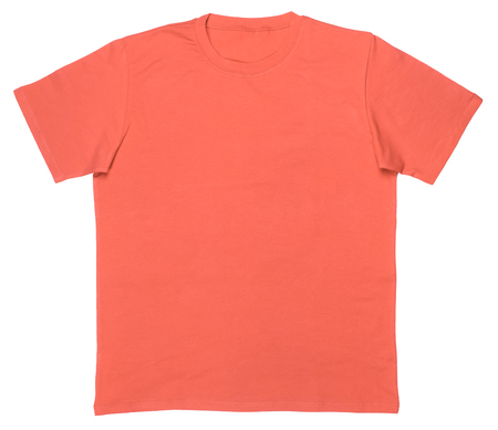 Living coral trendy color of the year 2019 plain shortsleeve cotton T-Shirt template isolated on a white background