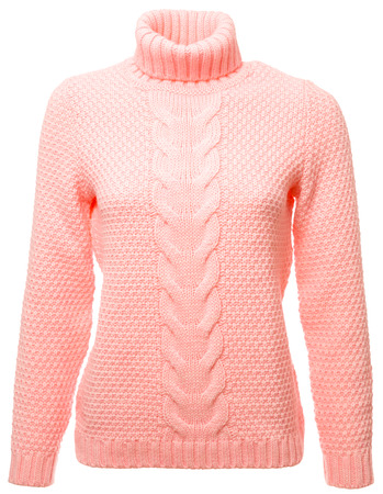 Living coral trendy color of the year 2019 long sleeved jersey on a mannequin isolated on a white background 写真素材