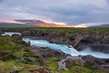 Skjálfandafljót river near Goðafoss (waterfall of the gods) waterfall at the beginning of the Sprengisandur highland road, Northeastern Iceland, Scandinavia