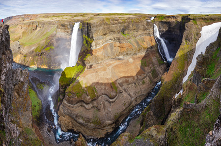 Panoramic view of Háifoss waterfall on the Fossá river near the volcano Hekla, the fourth highest waterfall of the island with height of 122 meter in Southwest Iceland, Scandinavia Standard-Bild - 118201650