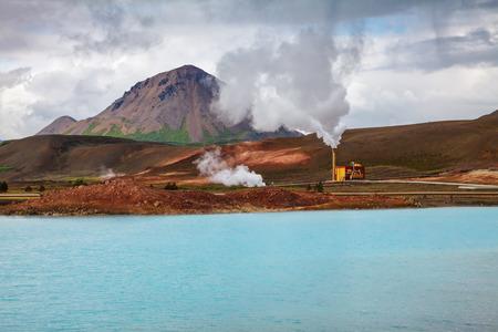 Krafla geothermal power plant, the largest Iceland's power station near lake Myvatn, Northeastern Iceland, Scandinavia Standard-Bild - 118201706