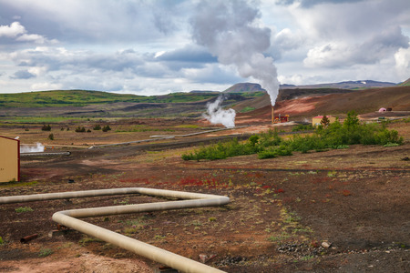 Krafla geothermal power plant, the largest Iceland's power station near lake Myvatn, Northeastern Iceland, Scandinavia Standard-Bild - 118201709