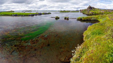 Panoramic view of shallow Myvatn (the lake of midges) lake with volcanic landforms, Northeastern Iceland, Scandinavia Standard-Bild - 118201710