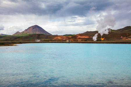 Krafla geothermal power plant, the largest Iceland's power station near lake Myvatn, Northeastern Iceland, Scandinavia Standard-Bild - 118201715