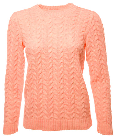 Coral trendy color long sleeved jersey on a mannequin isolated on a white background Standard-Bild - 118201990