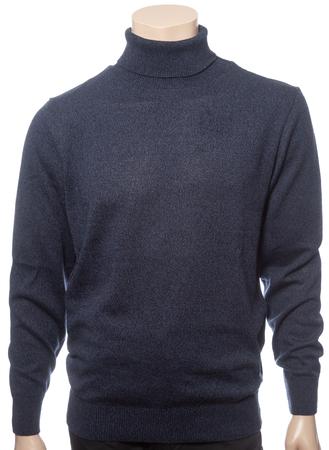 Dark blue plain longtsleeve cotton turtleneck jersey on a mannequin isolated on a white background Standard-Bild - 118201992