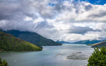 View from the Cullen Point Lookout to the Hoods Bay at Mahau Sound, a part of the Marlborough Sounds sea-drowned valleys network in South Island of New Zealand