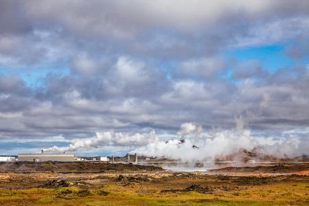 Steaming Reykjanes Power Station (Reykjanesvirkjun), part of the Blue Diamond tourist route in Reykjanes Peninsula, Southern Iceland Stock Photo
