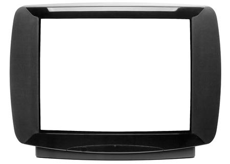 Panneau avant du téléviseur CRT stéréo noir vintage avec écran découpé isolé sur fond blanc. Concept de technologie rétro Banque d'images