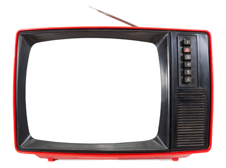 Front panel of red vintage portable CRT television set made in USSR with cut out screen isolated on white background. Retro technology concept
