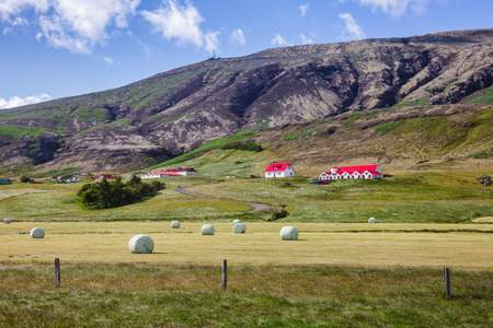 Icelandic rural landscape with plastic wrapped hay bales on a field with farm houses at the foot of volcanic mountain in Eastern Iceland, Scandinavia