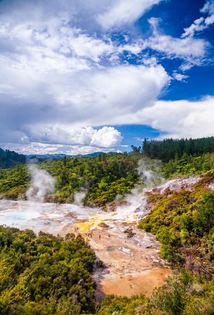 Steaming Orakei Korako geothermal area in the middle of tropical rainforest on the banks of Waikato River, Taupo Volcanic Zone, Northern Island of New Zealand