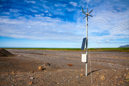 Propeller anemometer weather station with wind vane powered by solar panel in South coast of Iceland, Scandinavia