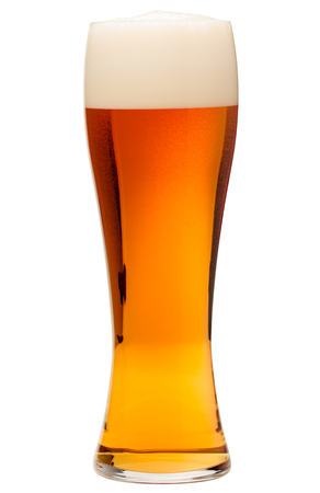 Full glass of bubbling amber beer or ale with tall head of foam isolated on white background 写真素材 - 122210853