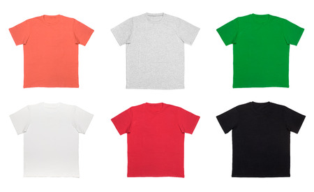 Various colored plain short sleeve cotton T-Shirt templates isolated on a white background