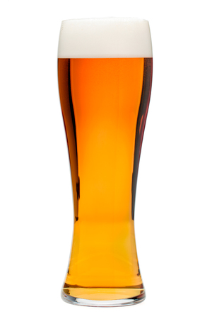 Full glass of bubbling amber beer or ale with tall head of foam isolated on white background 写真素材 - 122210858