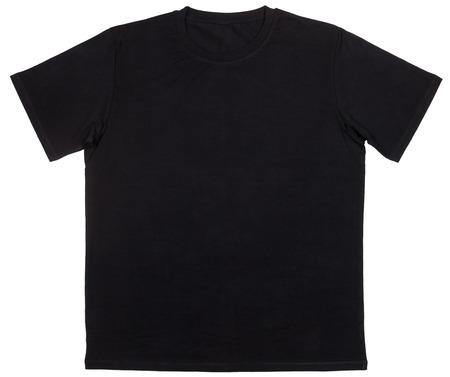 Czarny zwykły szablon bawełnianej koszulki z krótkim rękawem na białym tle Zdjęcie Seryjne