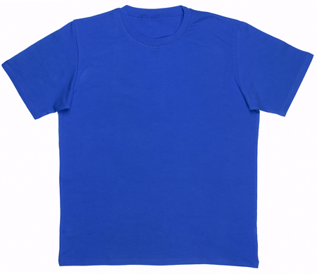 Blue plain shortsleeve cotton T-Shirt template isolated on a white background