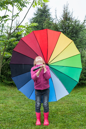 Little girl wearing fleece jacket and rubber boots standing with colorful umbrella in a rain having fun catching raindrops with her mouth