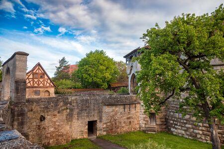 Bridge over moat at Spital bastion, part of Old Town fortification in Rothenburg ob der Tauber, Bavaria, Germany, Europe
