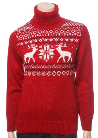 Red woman's knitted Christmas turtleneck sweater of traditional design with moose or elk ornament on female mannequin isolated on a white background