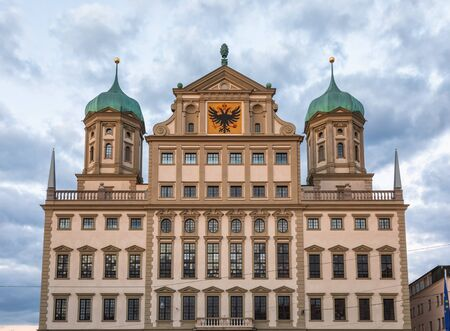 Facade of Augsburg Town Hall (Augsburger Rathaus), one of the most significant secular buildings of the Renaissance style north of the Alps. Augsburg, Swabia, Bavaria, Germany