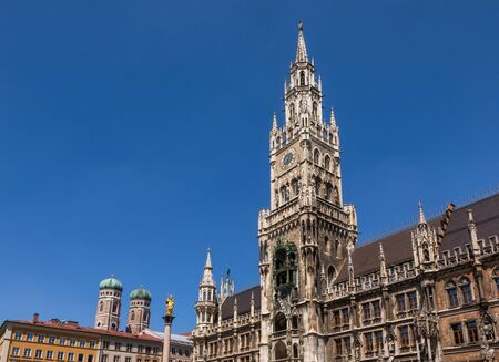 Late Gothic Belfry of New Town Hall (Neues Rathaus), the main tourist attraction at Marienplatz in Munich Inner city, Bavaria, Germany Stok Fotoğraf