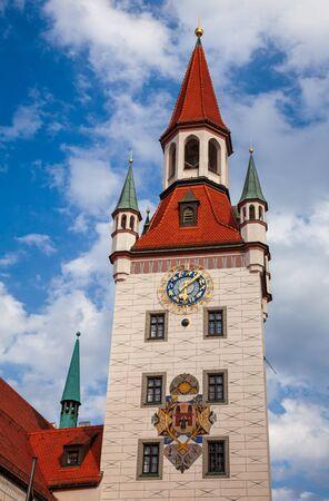 Old Town Hall (Altes Rathaus) clock tower, Marienplatz, Munich Inner city, Bavaria, Germany