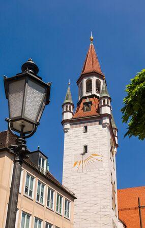 Sundial clock at Old Town Hall (Altes Rathaus) clock tower Marienplatz in Munich Inner city, Bavaria, Germany