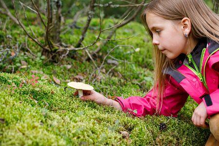 Une fille d'âge primaire a trouvé un champignon potentiellement dangereux en jouant dans une arrière-cour ou en campant dans une forêt - concept de risque d'empoisonnement aux champignons chez les enfants