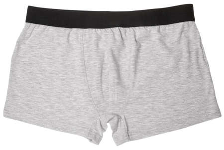 Pair of grey boxer briefs or trunks men's underwear isolated on a white background