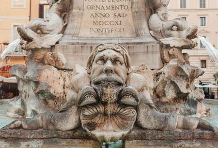 Fontana dei Pantheon fountain detail featuring ornate marble dolphins, Piazza della Rotonda, Rome, Italy 版權商用圖片