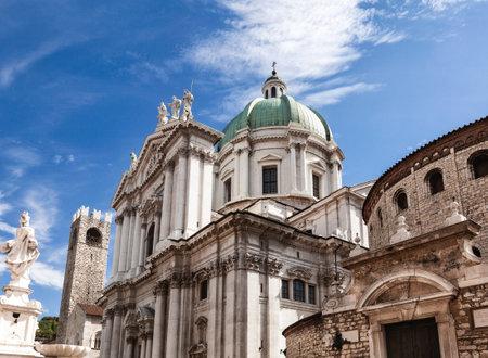 Romanesque circular Old Cathedral (Duomo Vecchio) or La Rotonda and Baroque New Cathedral (Duomo Nuovo) in Brescia, Lombardy, Northern Italy