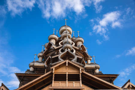 17th century wooden Church of the Transfiguration at Kizhi Pogost historical site on Kizhi Island, Lake Onega