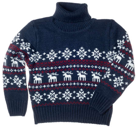Children's knitted warm seasonal Christmas turtleneck jumper aka Ugly sweater with deer and snowflake ornament isolated on white background