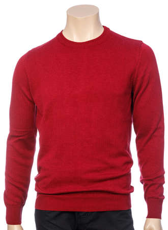 Red plain longtsleeve jersey on mannequin isolated on a white background