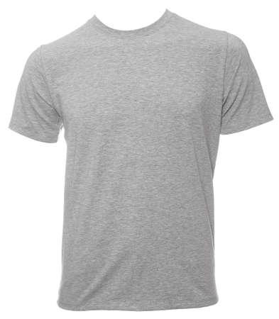 Grey short sleeve cotton T-Shirt template isolated on white Standard-Bild