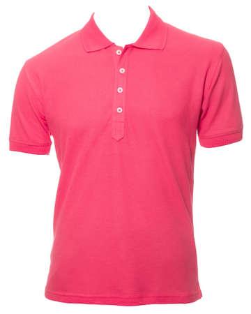 Pink plain short sleeve shirt isolated on white