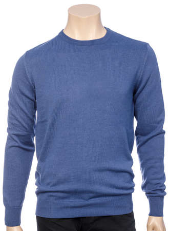Blue plain long sleeve jersey on mannequin isolated on  white Standard-Bild