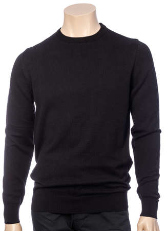 Black plain long sleeve jersey on mannequin isolated on a white