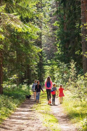 Little girls walking along a trail through summer forest enjoying warm sunny day Standard-Bild